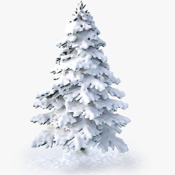 3d model snowy spruce tree v1