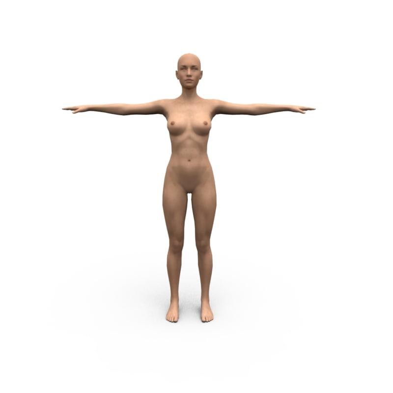 obj human polygonal woman