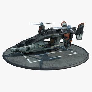 futuristic dropship 3d model