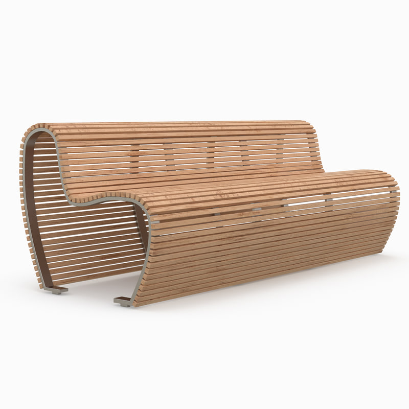 bench outdoor wood 3d max