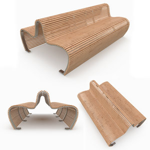 bench double outdoor wood max