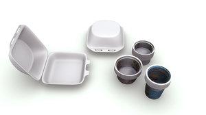 biodegradable plastics cups 3d model