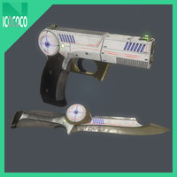 Sci-fi pistol and knife