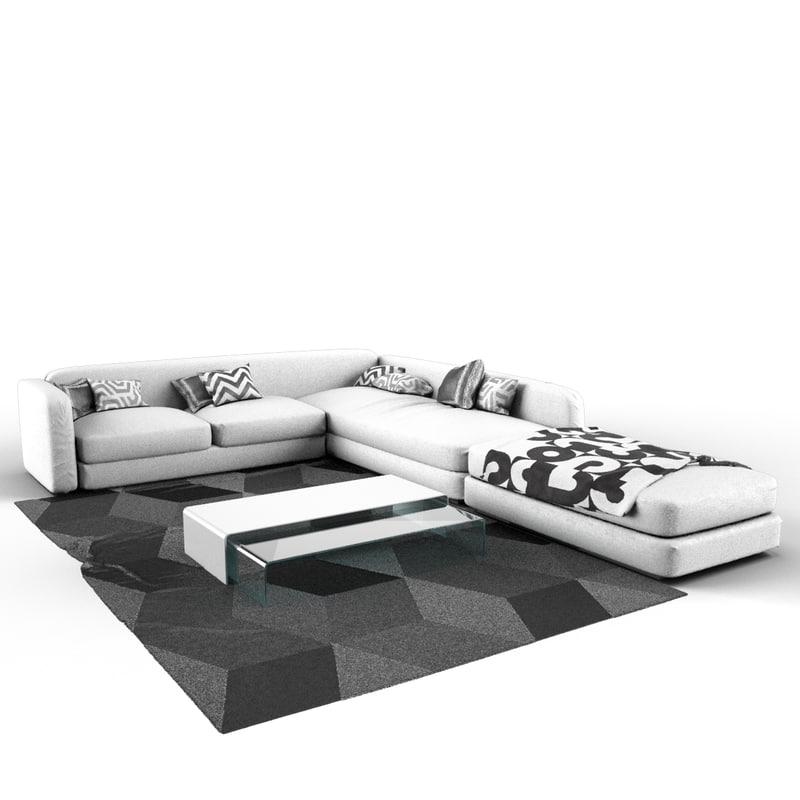 3d model sofa white - complete