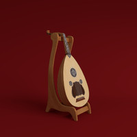 oud instrument string 3d model