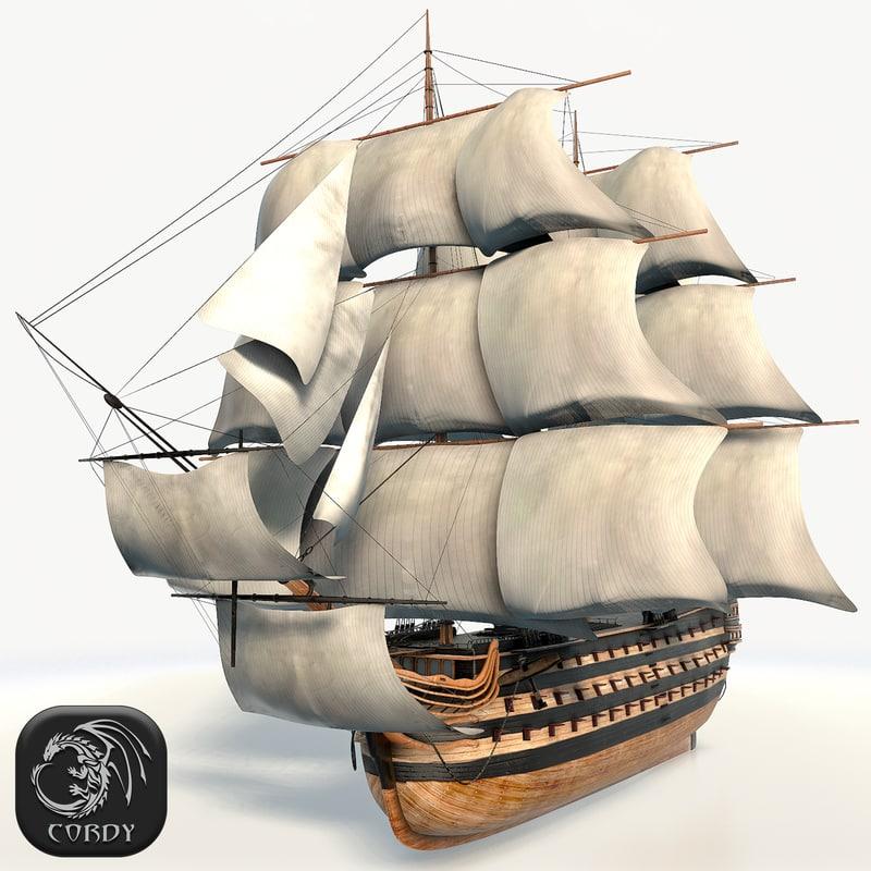 simple ship line 3d model