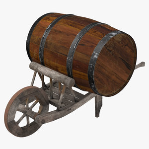 medieval wheelbarrow barrel 3d obj