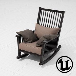 unreal gervasoni gray rocking chair 3d fbx
