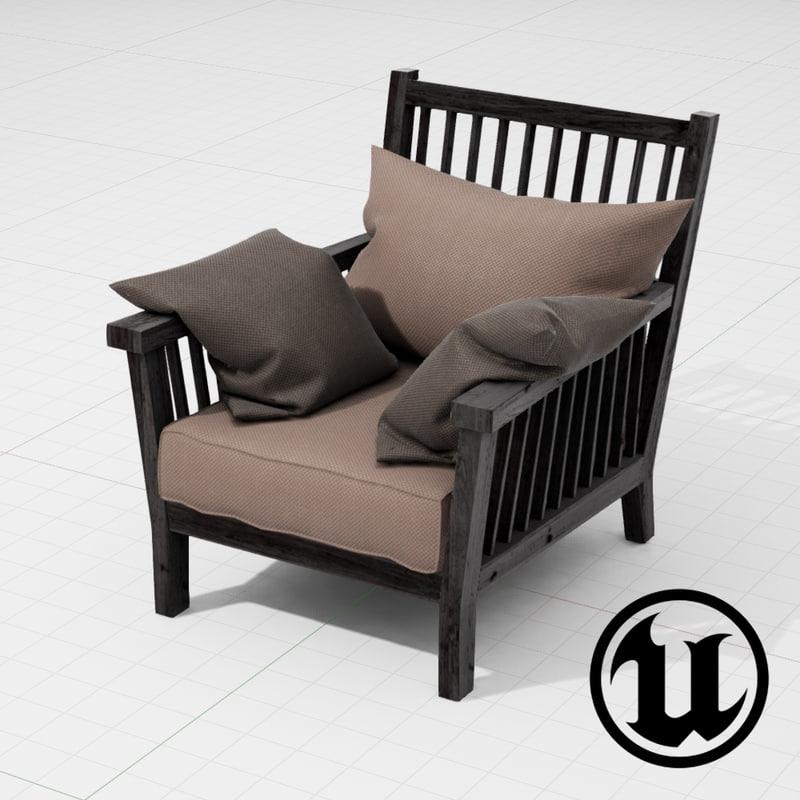 3d unreal gervasoni gray rocking chair model