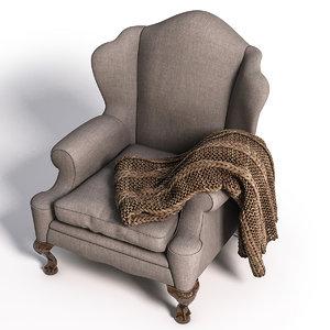 armchair plaid 3d max