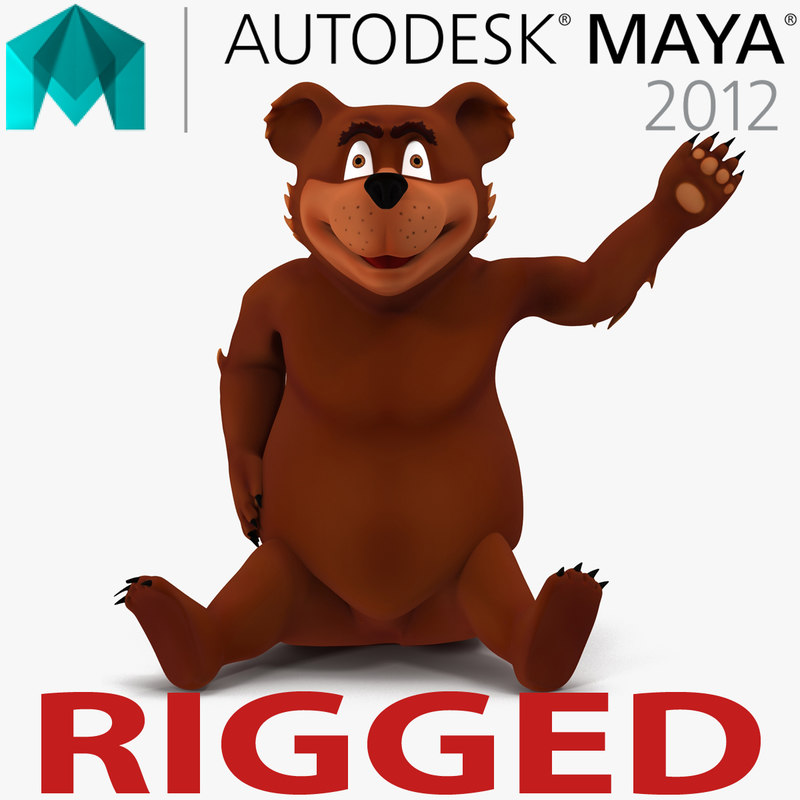 cartoon bear rigged 3d model