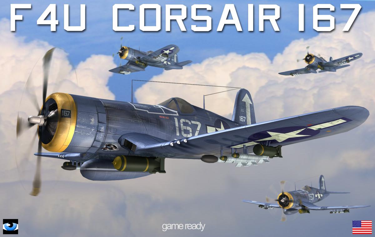 vought f4u corsair flight 3d model