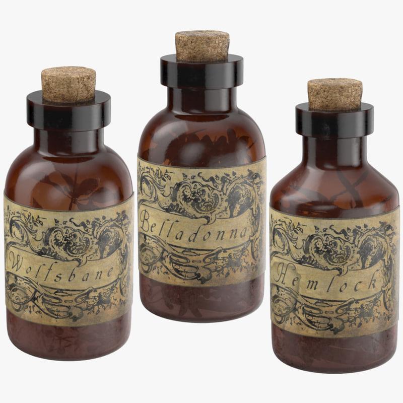 3d model potion ingredients jars