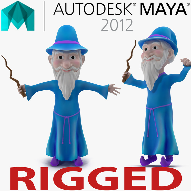 3d model of cartoon wizard rigged