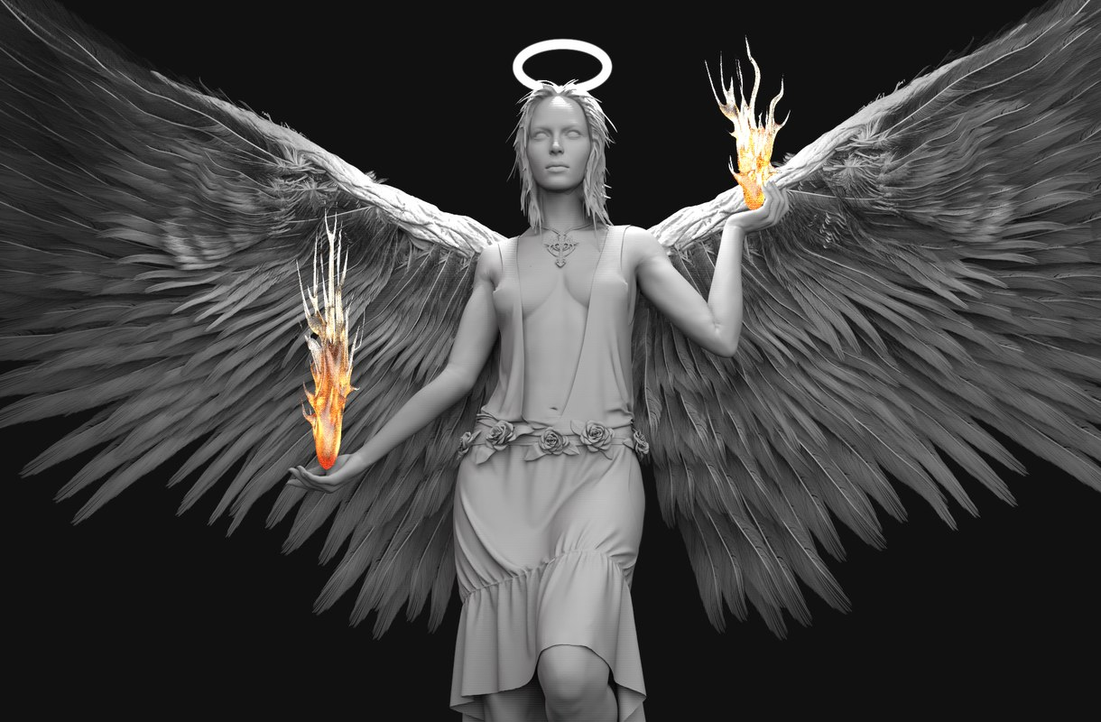 angel zbrush wings 3ds