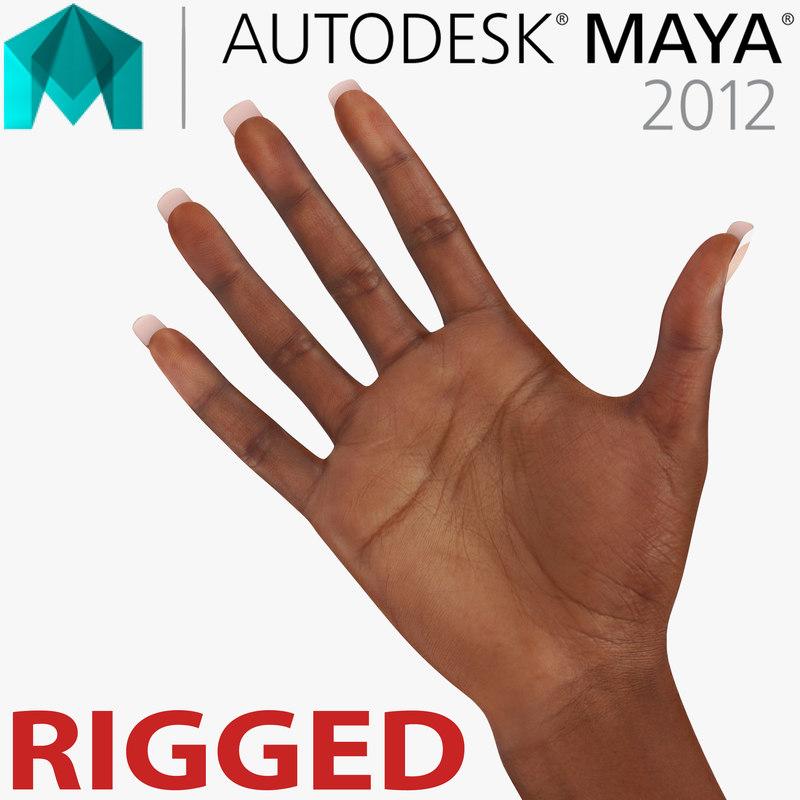 3d model female hand african american