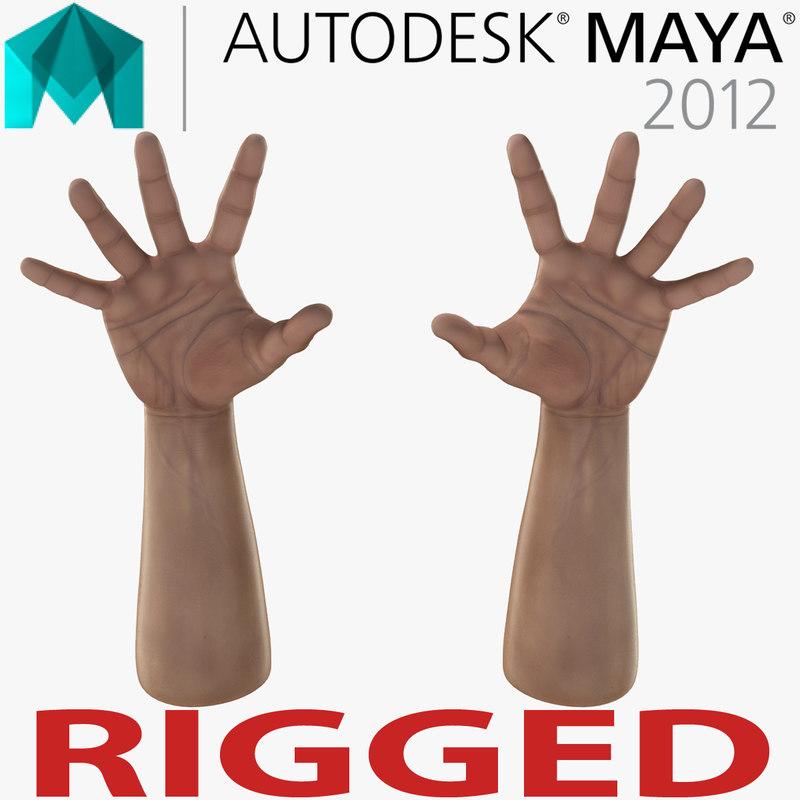 3d model man hands rigged