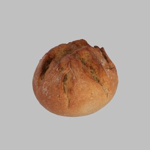 photoreal small rustical bread 3d max