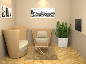 studio living set 3d model