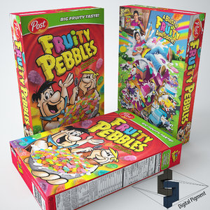 3d model fruity pebbles 2 cereal box