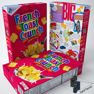 3d model french toast crunch cereal box