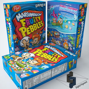 fruity pebbles marshmallow cereal box 3d model