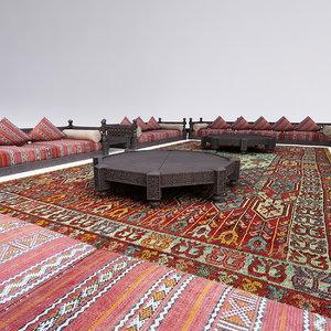 3d moroccan sofa set tables