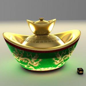 obj chinese gold ingot