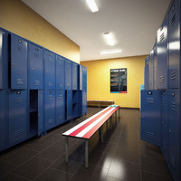 3d scene gym locker room
