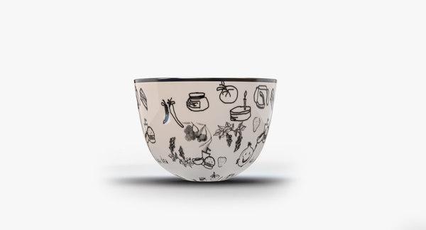 white kitchen bowl clipart 3d max