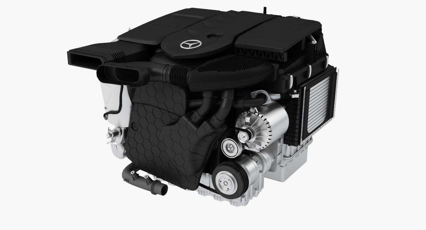 mercedes diesel engine om654 3d max. Black Bedroom Furniture Sets. Home Design Ideas