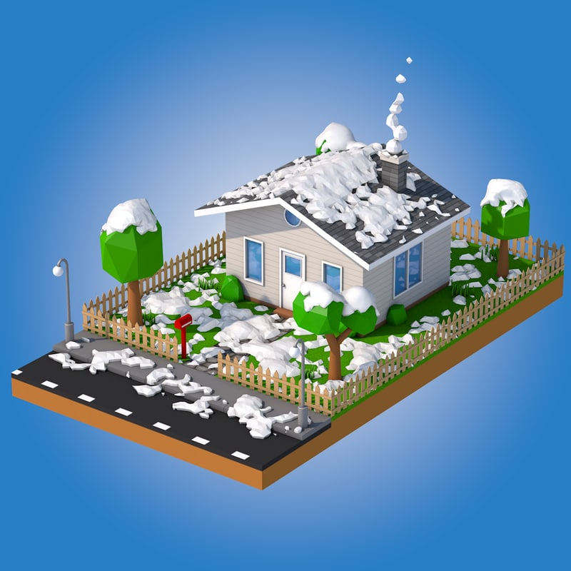 snowy house 3d c4d