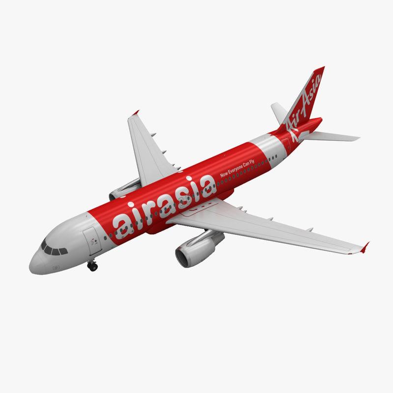 airbus a320 airasia 3d model