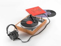 3d model turntable lcd-x headphones