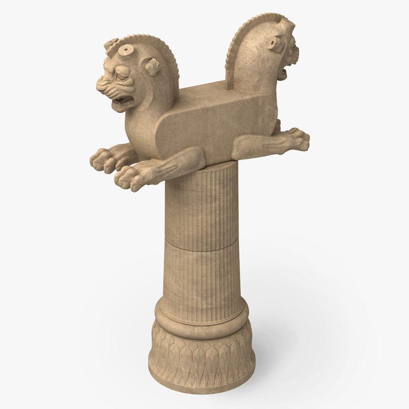 3d lion capital column persepolis model