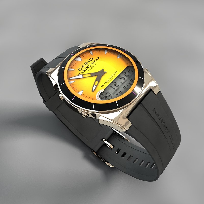 3d model casio watch