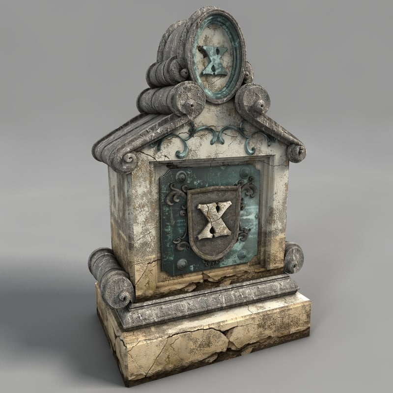 3d model graveyard tombstone