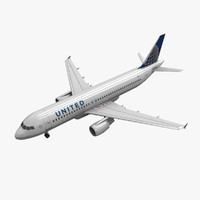 airbus a320 united airlines 3d model
