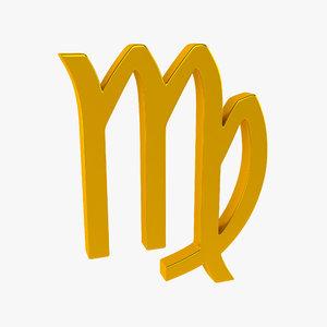 zodiac virgo sign 3d 3ds