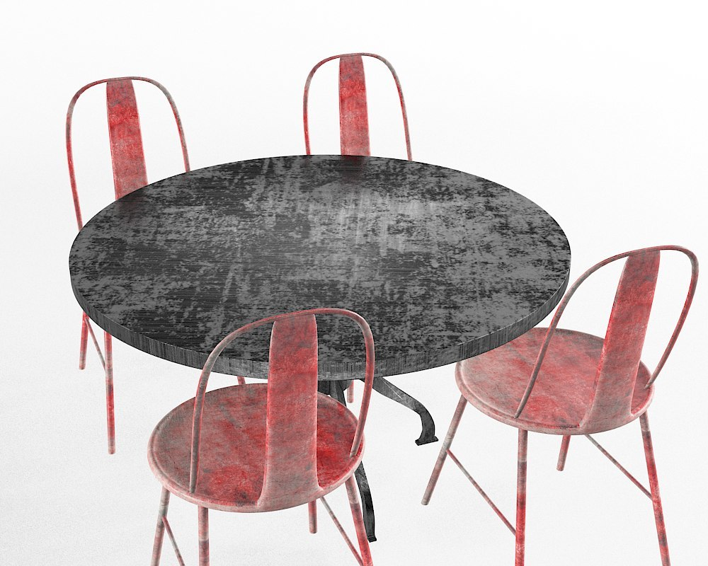3d max red chairs table