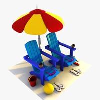 cartoon summer items 3ds