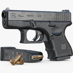 gun glock 26 gen 3d model