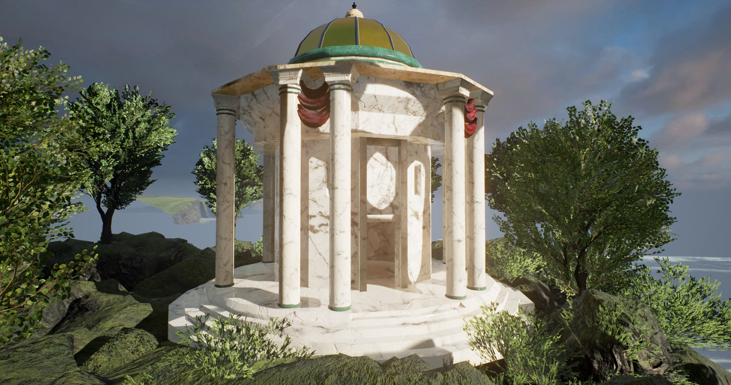 3d temple historic marble model