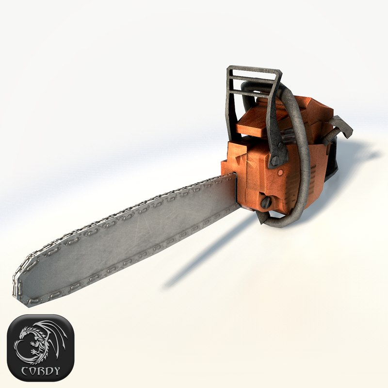 3d model realistic chain saw