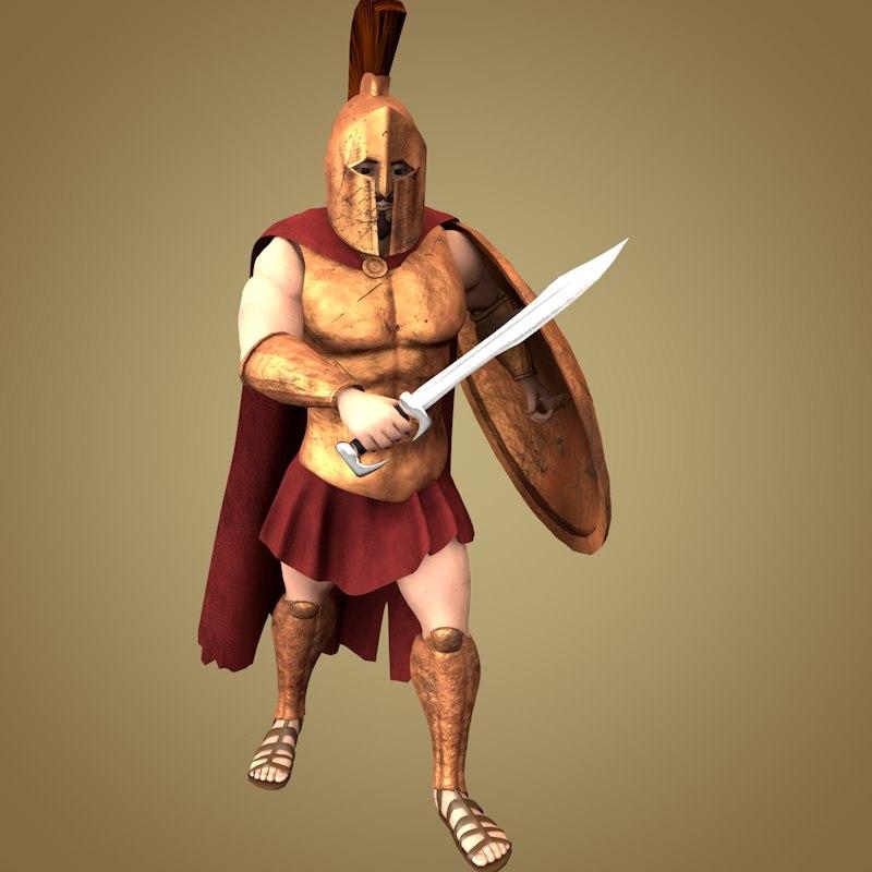 hoplite sparta spartan 3d model