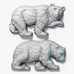 walking bears relief sculpture 3d model