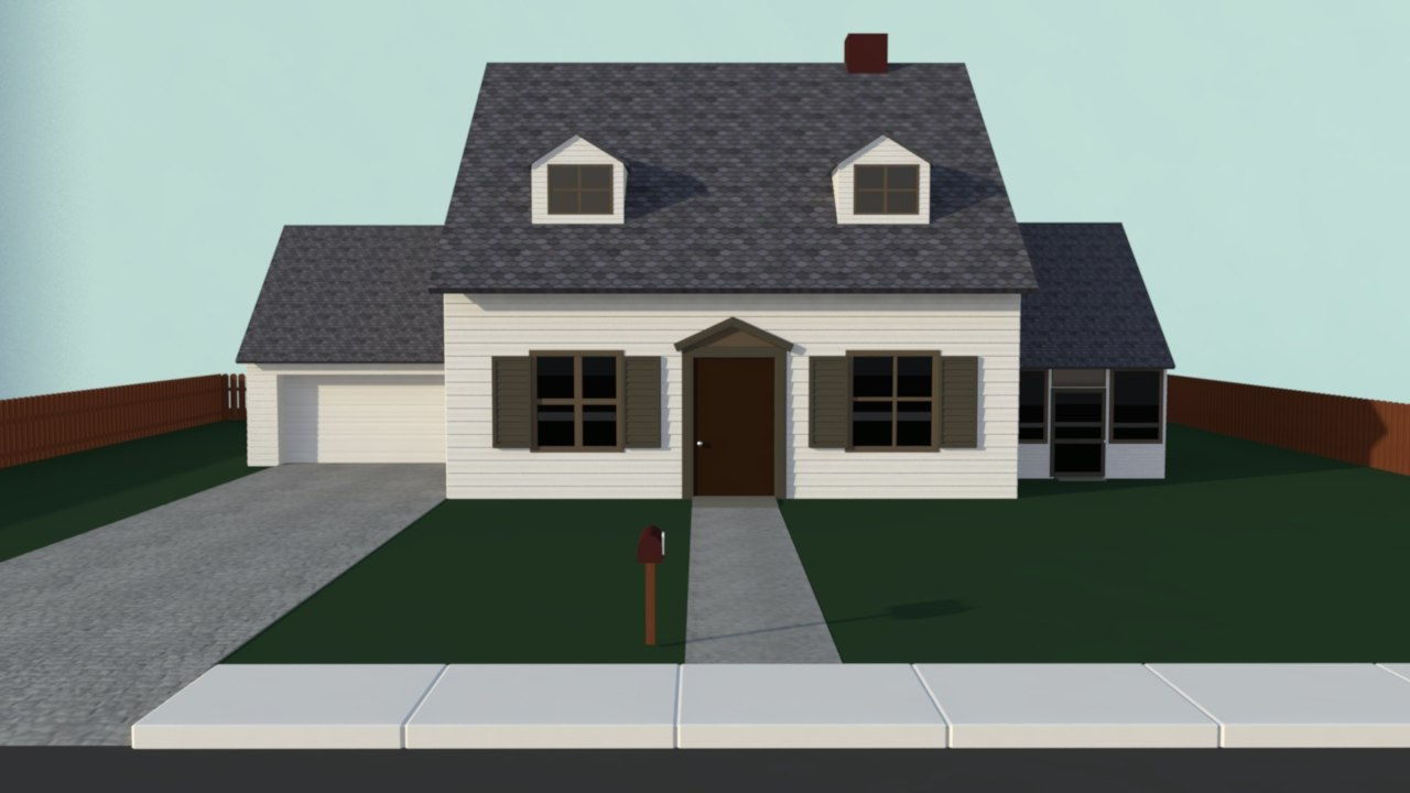 Simple house 3d model Simple 3d modeling online
