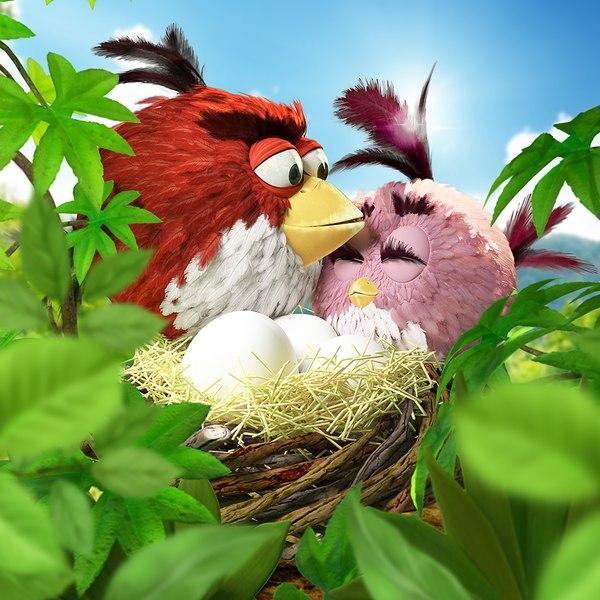 3d scene angry birds