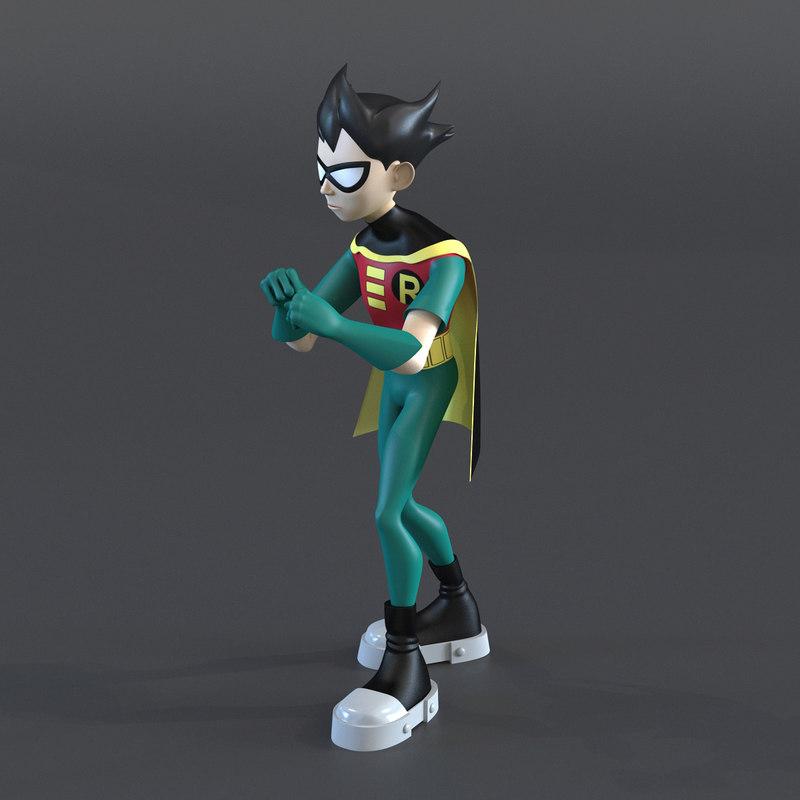 Robin Cartoon Character Rigged for Cinema 4D