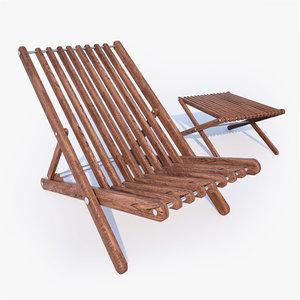 3d model sunbed chair wooden